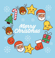 merry christmas greeting card decoration icons in vector image vector image