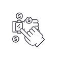 mobile payments line icon concept mobile payments vector image vector image