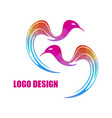 modern bright colored triangular bird logo vector image vector image
