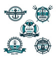 nautical retro badge set marine heraldry design vector image vector image