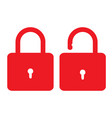 open close lock icon on white background flat vector image
