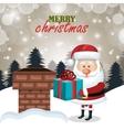 postcard xmas santa claus gift chimney landscape vector image