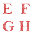 Red sketch font set - letters E F G H vector image vector image