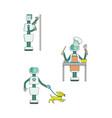 robot home assistants doing housework set vector image