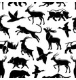 seamless pattern wild animals and birds vector image