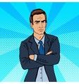 Serious Businessman Confident Boss Pop Art vector image vector image