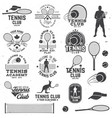 set of tennis club badges with design element vector image vector image