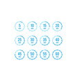 set timers sign icon full rotation arrow timer vector image vector image