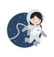 small girl astronaut flying in space background vector image vector image