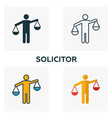 solicitor icon set four elements in diferent vector image