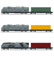 three types of freight train vector image
