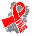 world aids day emblem red ribbon in grunge style vector image