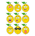 yellow lemon fruit character collection - 1 vector image
