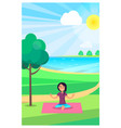 young girl meditation in urban park in summer vector image