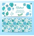 Nice floral greeting cards set with leaves vector image