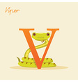 Animal alphabet with viper vector image