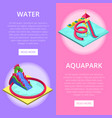 aquapark water slides isometric vertical flyers vector image vector image