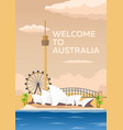 australia poster welcome to australia sydney vector image vector image