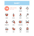 baby - line design icons set vector image vector image