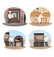 baker pizza and pastry chef icon of bakery design vector image