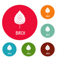 birch leaf icons circle set vector image vector image