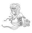black white outline cartoon cute mermaid vector image