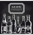 Bottles on chalkboard bar menu background vector image vector image