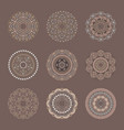 brown set of 9 mandalas in tribal style vector image vector image