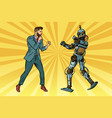 businessman fighting with a robot vector image vector image