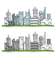 cartoon hand drawing city with color on white vector image vector image