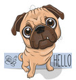 cartoon pug dog isolated on a white background vector image vector image