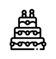 celebration wedding cake thin line icon vector image vector image