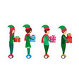 christmas girl boy elf costume ride electric vector image