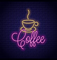 coffee neon banner cup coffee neon sign on vector image vector image