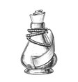 creative potion glass bottle phial ink vector image
