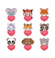 cute animals with hearts vector image