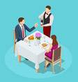 dinner in restaurant young couple having dinner vector image