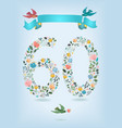 floral number sixty with ribbon and birds vector image