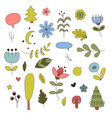 forest elements in cartoon style vector image vector image