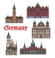 german travel landmark thin line icon set vector image