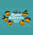 halloween greeting card holiday banner cartoon vector image vector image