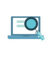 laptop technology information with magnifying vector image vector image
