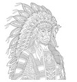 native american indian chief adult coloring page vector image vector image