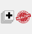 outline medical data icon and grunge vector image vector image