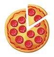 pepperoni pizza with sausages top view vector image vector image