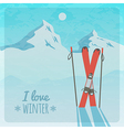 retro with snowy mountains and skis vector image