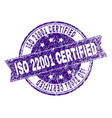 scratched textured iso 22001 certified stamp seal vector image vector image
