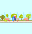 senior elderly couple walking together outdoor vector image