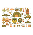 set camping tools vector image