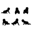 set of silhouettes of babies vector image